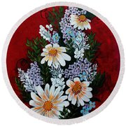Daisies Lilacs And Forget Me Nots Round Beach Towel