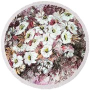 Daisy Blush Remix Round Beach Towel