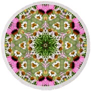 Daisy Daisy Do Kaleidoscope Round Beach Towel