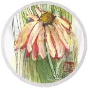 Daisy Girl Round Beach Towel by Sherry Harradence