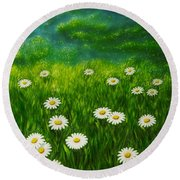 Daisy Meadow Round Beach Towel