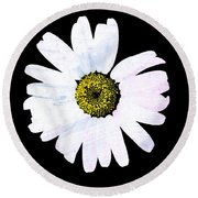 Daisy On Black Round Beach Towel