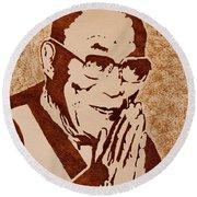 Dalai Lama Original Coffee Painting Round Beach Towel
