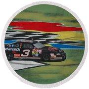 Dale Earnhardt Wins Daytona 500-infield Doughnuts Round Beach Towel
