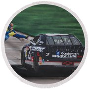 Dale Earnhardt Wins Daytona 500-pit Road Hand Shake Round Beach Towel