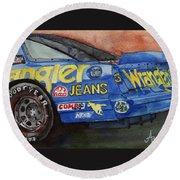 Dale Earnhardt's 1987 Chevrolet Monte Carlo Aerocoupe No. 3 Wrangler  Round Beach Towel