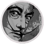 Dali In B W Round Beach Towel