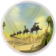 Dali On The Move  Round Beach Towel