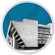 Dallas Skyline City Hall - Steel Round Beach Towel