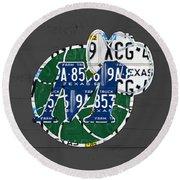 Dallas Mavericks Basketball Team Retro Logo Vintage Recycled Texas License Plate Art Round Beach Towel