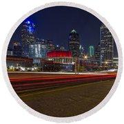 Dallas Skyline At Night Round Beach Towel