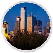 Dallas Skyline Round Beach Towel by Inge Johnsson