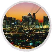 Dallas Texas Skyline In A High Heel Pump Round Beach Towel