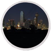 Dallas Skyline Twilight Round Beach Towel