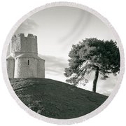 Dalmatian Stone Church On The Hill Round Beach Towel by Brch Photography