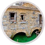 Dalmatian Village Traditional Stone Watermill Round Beach Towel