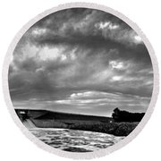 Dam Panoramic Round Beach Towel