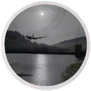 Dambusters Lancaster At The Derwent Dam At Night Round Beach Towel