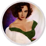 Dame Elizabeth Rosemond 'liz' Taylor - Featured In 'comfortable Art' Group Round Beach Towel