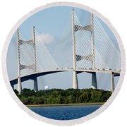 Dames Point Bridge Jacksonville Florida Round Beach Towel
