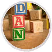 Dan - Alphabet Blocks Round Beach Towel