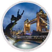 Dance At The Tower Round Beach Towel