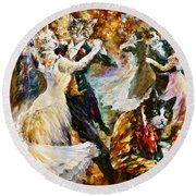 Dance Ball Of Cats  Round Beach Towel by Leonid Afremov