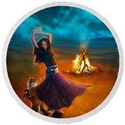 Dance Dervish Fox Round Beach Towel