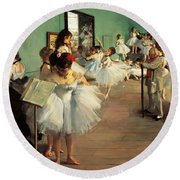 Dance Examination Round Beach Towel by Edgar Degas