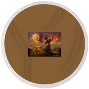 Dance In The Fire Round Beach Towel