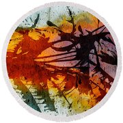 Dance Of Colours  Round Beach Towel
