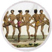Dance Of The Caroline Islanders, Plate Round Beach Towel