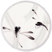 Dance Of The Dragonflies Round Beach Towel
