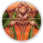 Dance Of The Orange Calla Lilies II Round Beach Towel