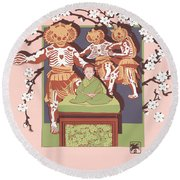 Dance Of The Skeleton Lords Round Beach Towel