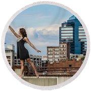Dance The Durham Skyline Round Beach Towel by Jh Photos