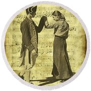 Dance The Minuet With Me Round Beach Towel
