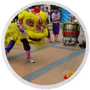 Dance Troupe Performs Chinese Lion Dance Singapore Round Beach Towel