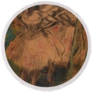 Dancer In The Wing Round Beach Towel by Edgar Degas