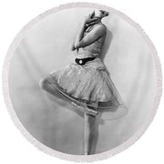 Dancer Nikitina At Monte Carlo Round Beach Towel by Underwood Archives