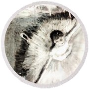 Dancer With A Bouquest Of Flowers By Edgard Degas Round Beach Towel
