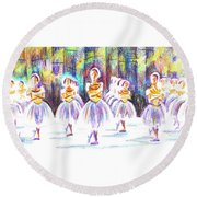Dancers In The Forest II Round Beach Towel