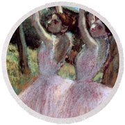 Dancers In Violet Dresses Round Beach Towel