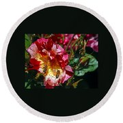 Dancing Bees And Wild Roses Round Beach Towel