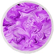 Dancing Flames-purple Round Beach Towel