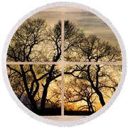 Dancing Forest Trees Picture Window Frame Photo Art View Round Beach Towel