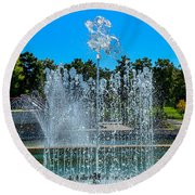 Dancing Fountain Round Beach Towel