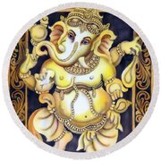 Dancing Ganesh Round Beach Towel