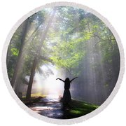 Dancing In God's Light Copyright Willadawn Photography Round Beach Towel