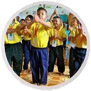 Dancing Kindergarten Students At Baan Konn Soong School In Sukhothai-thailand Round Beach Towel